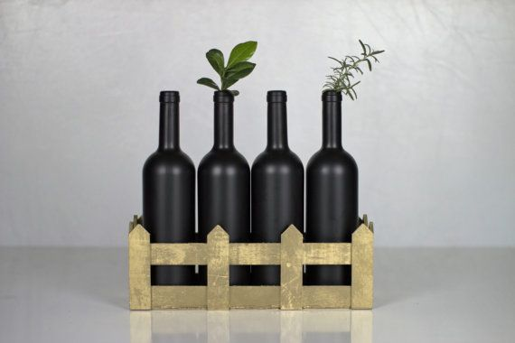 Decorative Bottles in Gold basket/Vase Bottles by AnEllieCreations