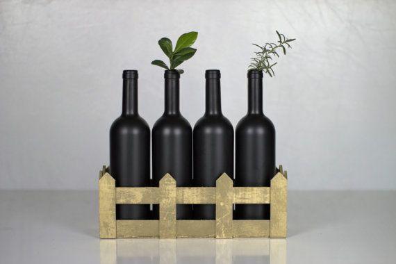 Decorative Bottles in Gold basket/Vase Bottles by AnEllieCreations