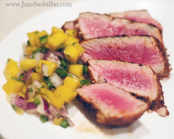Blackened Tuna with Mango Salsa || Jan's Sushi Bar