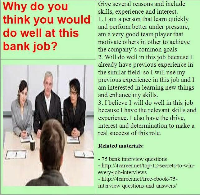 15 best images about Bank interview questions on Pinterest