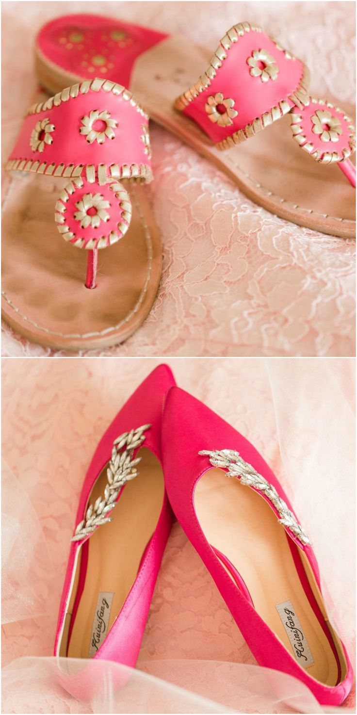 Wedding shoes, coordinating change, hot pink, Jack Rogers, gold, diamond  accents, pointed flats // Amy Allen Photography