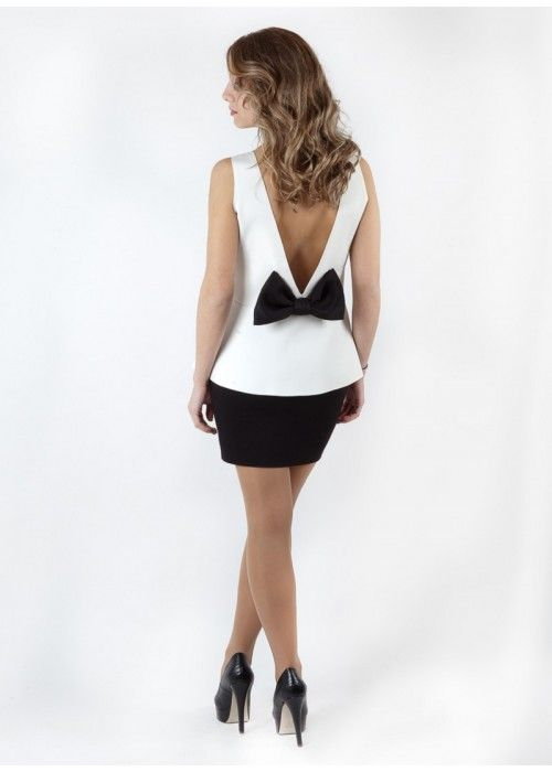 BASICS Top with bow open back White