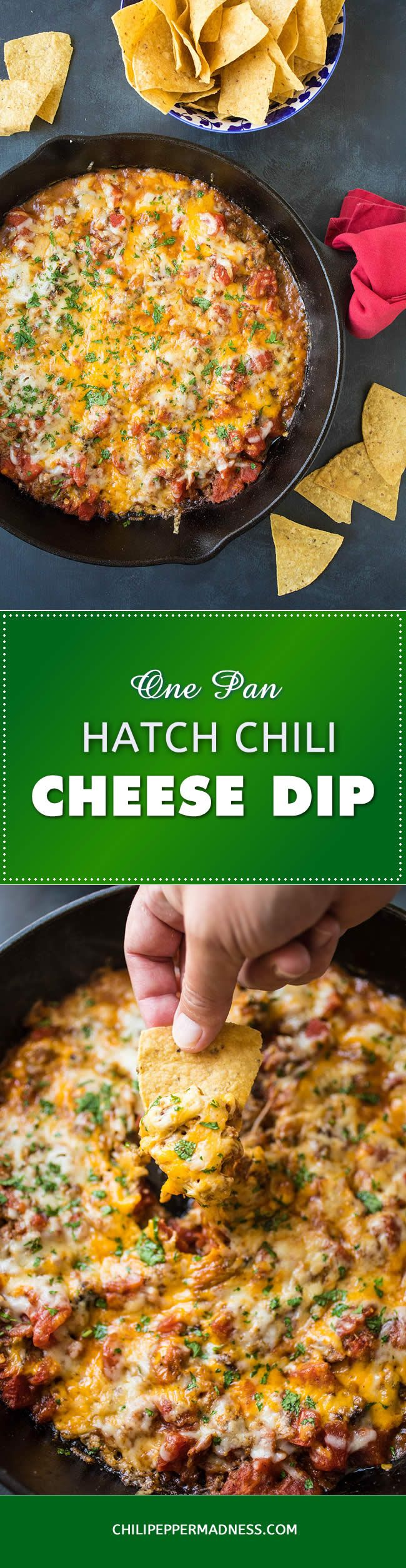 One-Pan Hatch Chili-Cheese Dip - A zesty, super cheesy dip recipe made with roasted Hatch chili peppers, cheddar and Monterrey Jack cheeses and plenty of seasoning. Bust out the chips! It's party time!