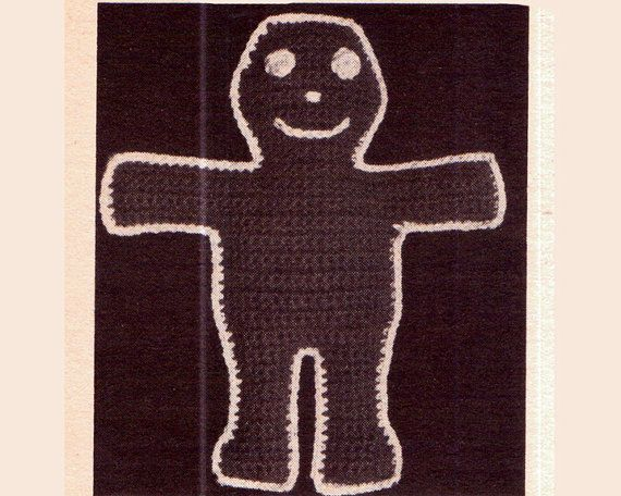 Genuine Vintage 'Adorable' GINGERGREAD MAN Pot Holder or Stuffed Toy Crochet Pattern PDF