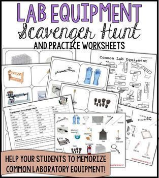 Lab Equipment Scavenger Hunt and Practice Activities ... picture cards included so works whether you have the actual equipment or not ... 36 of the most common pieces of lab equipment ... good for beginning of year, science process skills, chemistry unit