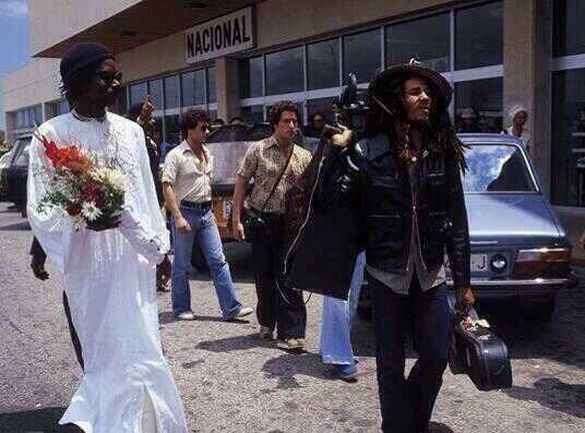 Bob Marley arriving at Ibiza Airport in 1978.