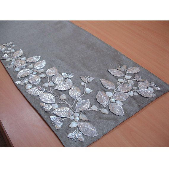 """Beaded Table Runner Silver Beautiful Butterfly Mother Of Pearl Embroidered 14"""" x 64"""" Elegant Table Linen Modern Place mats"""