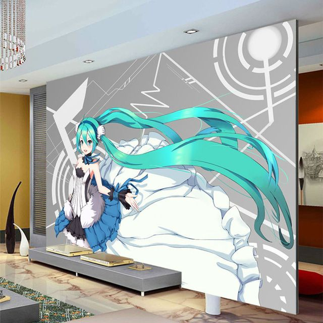 Hatsune miku wallpaper custom 3d photo wallpaper japanese for Cartoon wall mural
