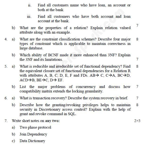 Database Management Systems u2013 BE (PU) Question Paper 2010 SEM - activities director resume