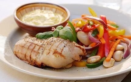 Kycklingfilé med smörfrästa grönsaker