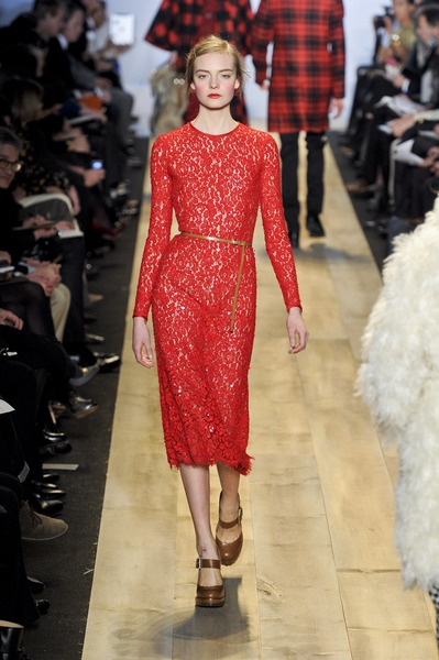 Michael Kors Fall 2012 Red Lace Midi Evening Dress  in Red