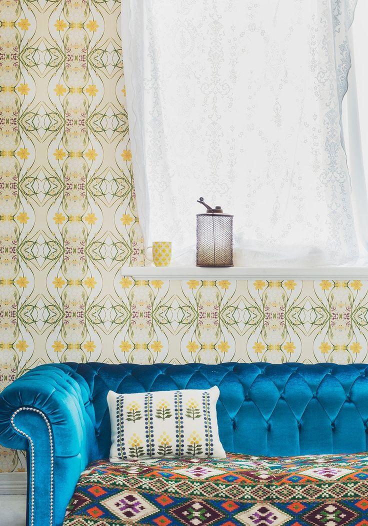 Euphemia 1 Wallpaper, floral bohemian style wallpaper