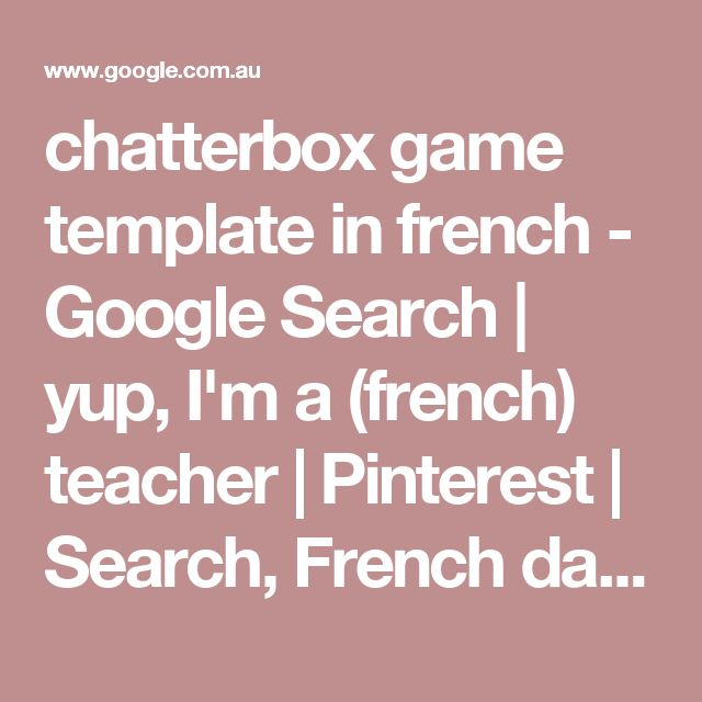 chatterbox game template in french - Google Search | yup, I'm a (french) teacher | Pinterest | Search, French days and Poster