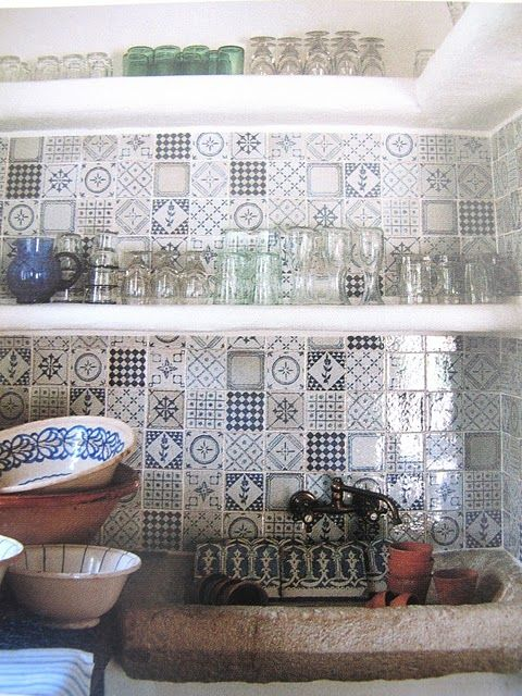 Kitchen Tiles Blue 46 best blue & white tiled kitchen images on pinterest | tiles