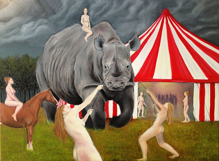 Taming the beast  60 times 80 cm Oil on Canvas