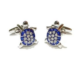 Blue and Crystal Turtle Cufflinks