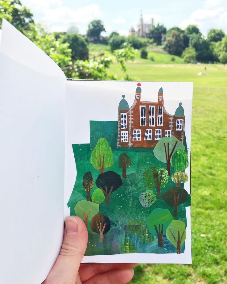 institutional building and field  -  Collage sketchbook by Clover Robin