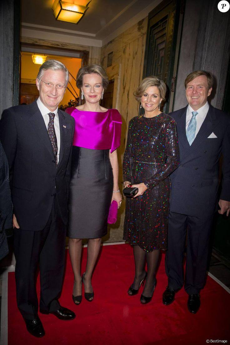 Le roi Philippe et la reine Mathilde de Belgique accueillaient le roi Willem-Alexander et la reine Maxima des Pays-Bas au Palais des beaux-arts de Bruxelles le 22 janvier 2016 pour un concert donné en l'honneur de la présidence néerlandaise de l'Union européenne.