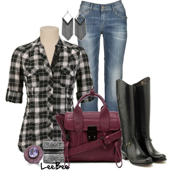 OutfitBlack Plaid, Clothing Obsession, Fall Style, Closets, Cute Outfits, Plaid Fall, Plaid Skirt Polyvore Boots, Bags, Fall Winte Clothing