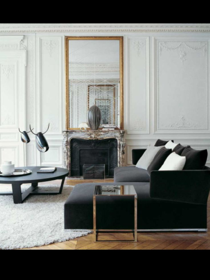 Black and white home decorating ideas 15 black and white rooms fireplaces furniture and classic - Living room contemporary decorating ideas ...
