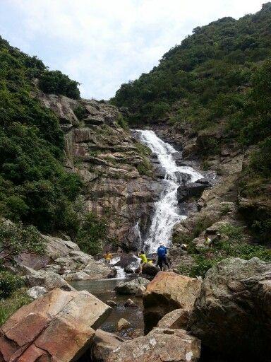 Man Cheung Po waterfall on Lantau Island In Hong Kong