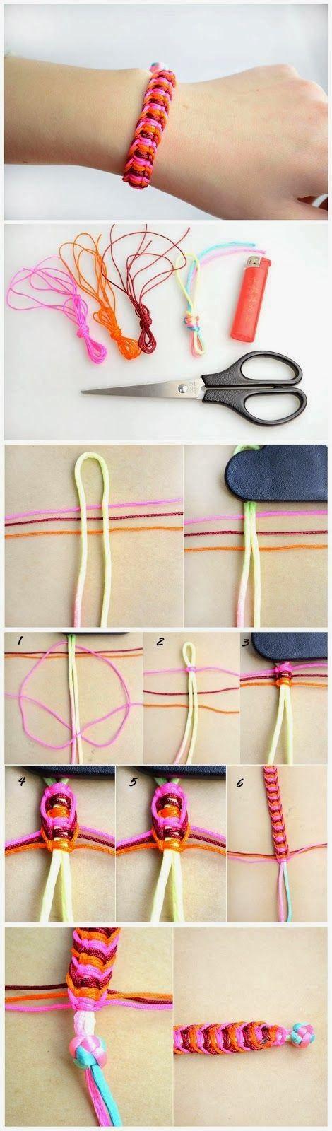 Como hacer patrones brazalete de cáñamo
