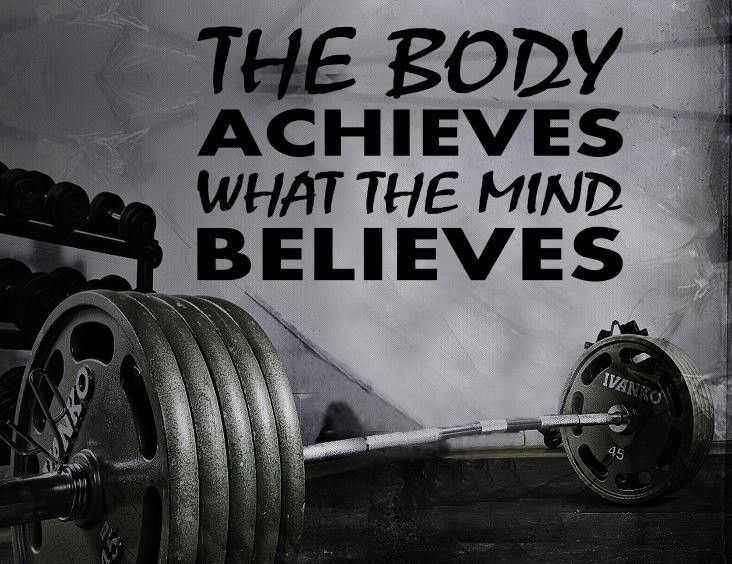 Gym Wall Decal For Home Gym Motivational Fitness - The Body Achieves What The Mind Believes