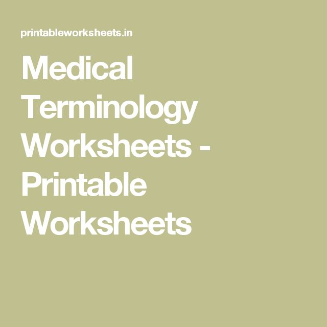 Medical Terminology Worksheets Printable Worksheets