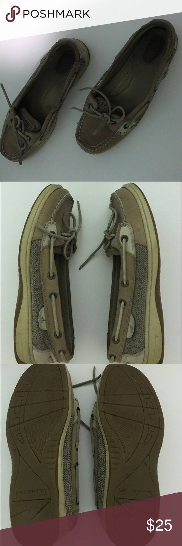💥PRICE DROP💥Sperry Angelfish Boat Shoes Sperry Angelfish Boat Shoe. Size 7M. The left shoe is starting to tear a bit at the seam in the front of the shoe. The right shoe has a tiny stain on the front and on the side. There are also little indentations/fold marks on the back of the shoe but aren't noticeable when worn. Sperry Top-Sider Shoes Flats & Loafers