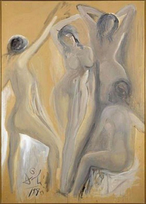 Salvador Dalí - Las señoritas de Avignon (The Young Ladies of Avignon), 1970. Oil, wash and tempera on paperboard, 212.5 x 152.5 cm. Museo Nacional Centro de Arte Reina Sofía, Madrid, Spain