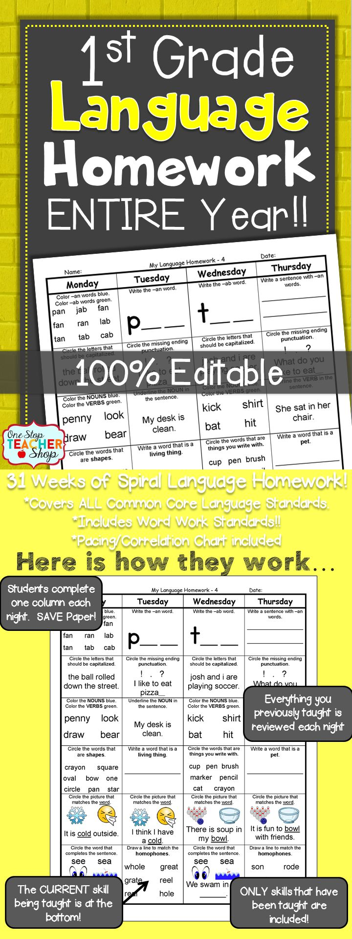 Spiral Language Homework, Morning Work, or Centers for the ENTIRE YEAR of FIRST GRADE! Aligned with 1st grade Common Core Language standards {Grammar & Word Work}. These sheets are 100% EDITABLE, and come with answer keys. Paid