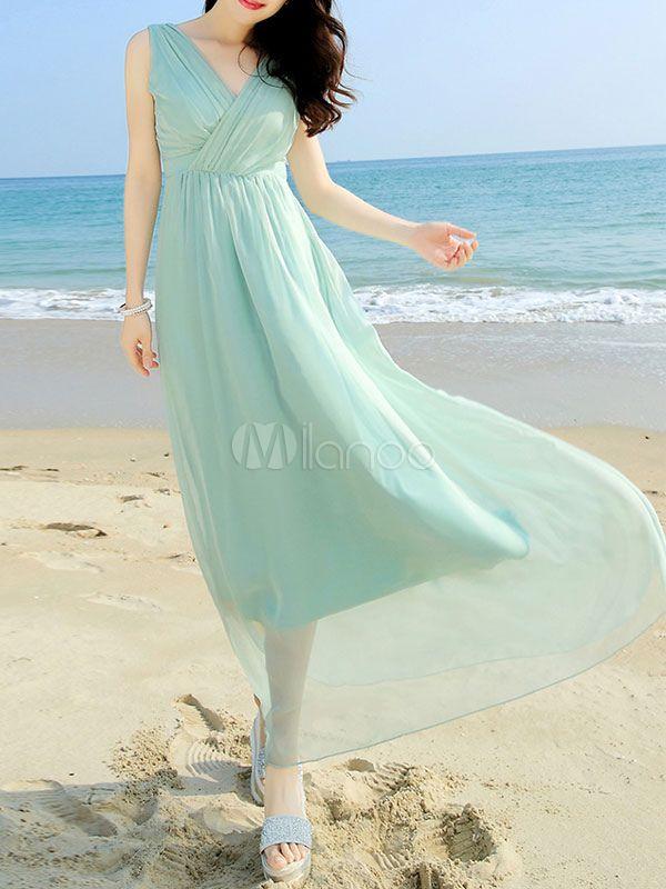 サマードレス Vネック 女性用 ノースリーブ シフォン 色無地 プリーツ プラスサイズ