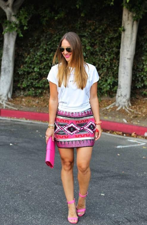 Forever 21 Multi Sequin Aztec Print Tube Mini Skirt