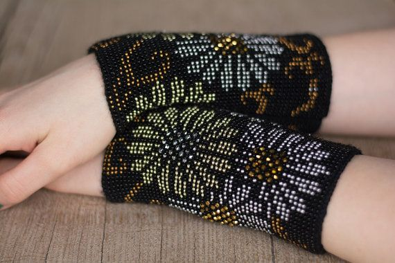 Hand-knitted black color wrist warmers от Balticworks4you на Etsy