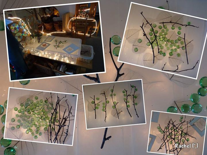 Twigs, Glass Nuggets Skeleton-leaves On My Homemade