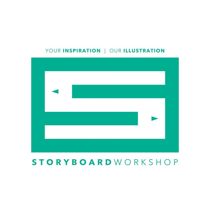 "STORYBOARD WORKSHOP | ""The Panel"" Storyboard Workshop Logo #2 Design Green Monogram S Frame Panel Pencils Negative Positive Space Your Inspiration Our Illustration"
