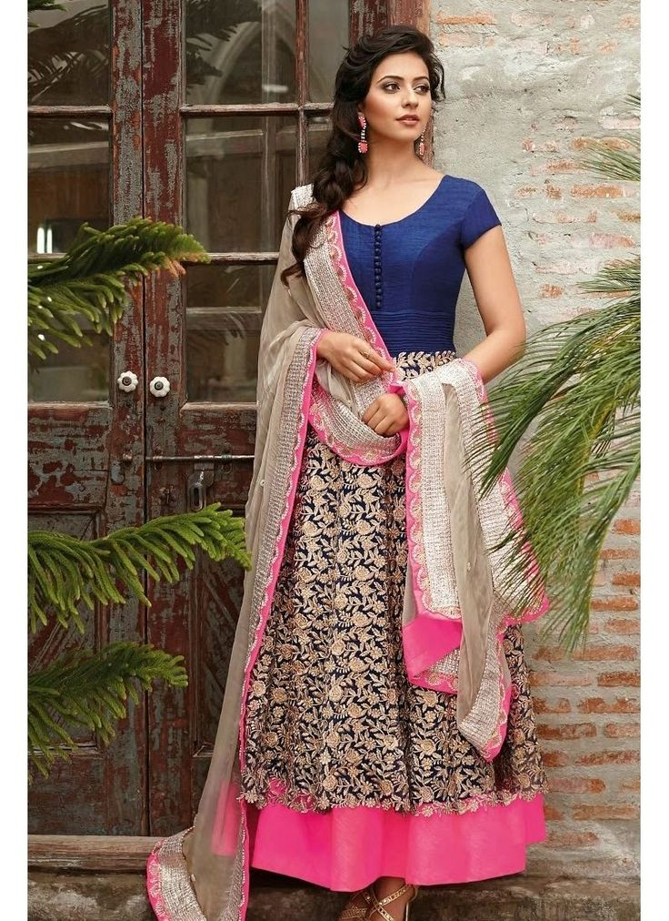 Make The Heads Turn When You Costume Up With This Enticing Deep Pink & Navy Blue Net Salwar Kameez. The Ethnic Jaal Work,Lace,Moti,Resham,Stones Work With The Attire Adds A Sign Of Magnificence Statement For The Look.