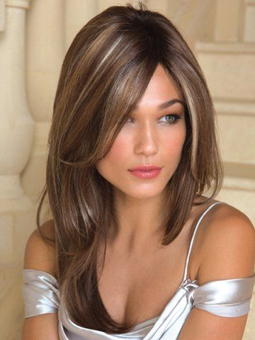 The 25 best white highlights ideas on pinterest platinum blonde charming white highlight long synthetic fluffy natural straight side parting wig for women pmusecretfo Images