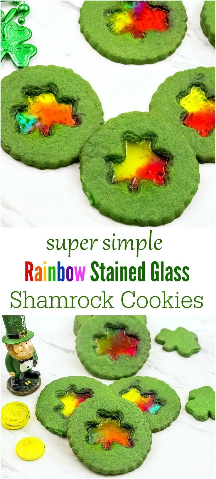 Impress your kids and their friends with these super easy, adorable St.Patrick's Day Shamrock cookies. The stained glass middle is almost too pretty to eat.