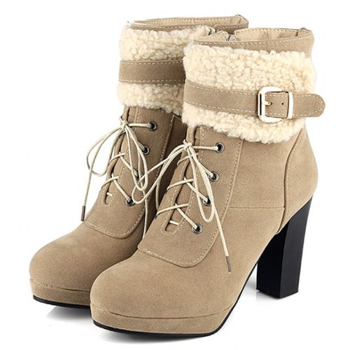 Cheap Winter Fashion Round Toe Patchwork Buckle Design Lace Up Chunky High Heel Apricot Suede Ankle on Luulla