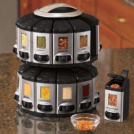 Oh my gosh. Auto-measure spice rack. You click it to dispense 1/4 t increments! Brilliant! $29.
