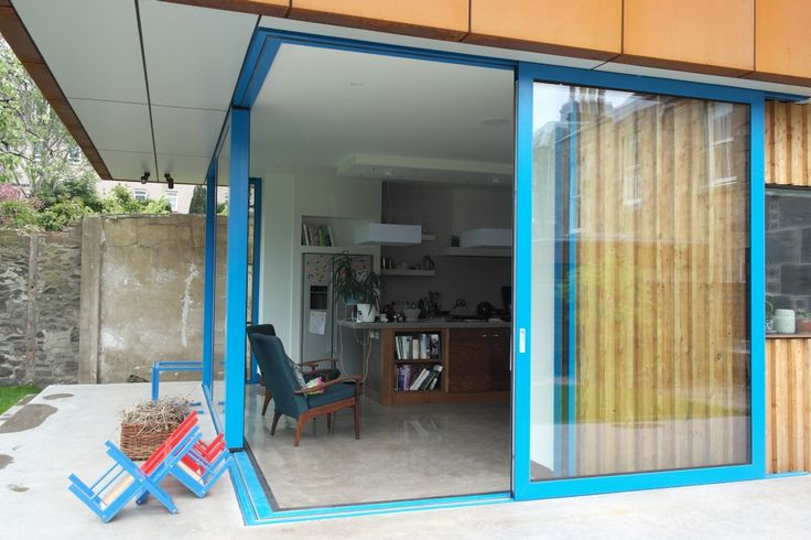 Our Reynaers CP155 aluminium lift and slide door with moving corner post. This door is 2.8 meters tall!