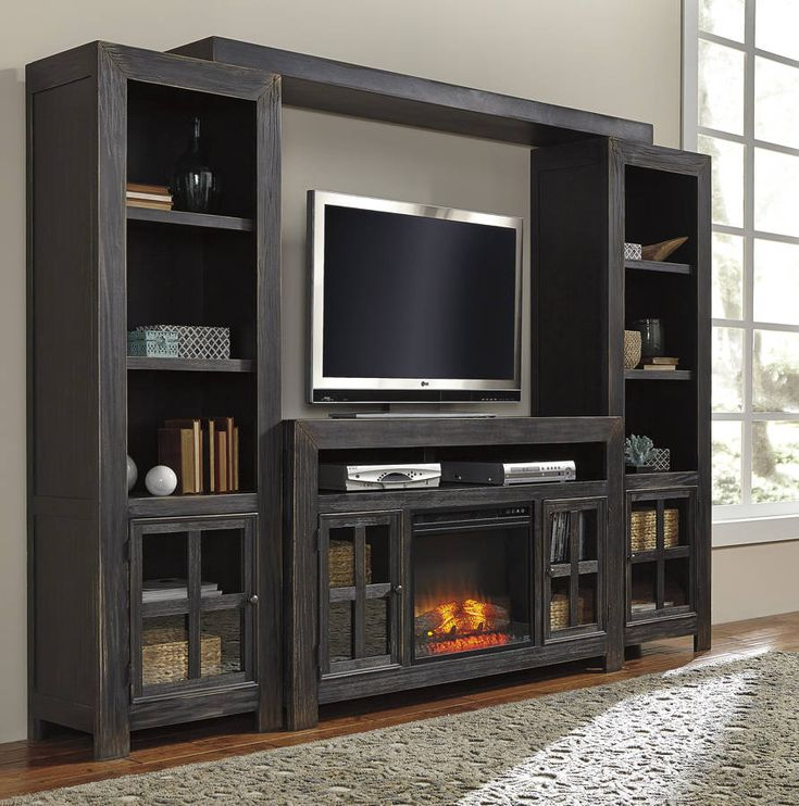 Gavelston Black Entertainment Center W/Fireplace