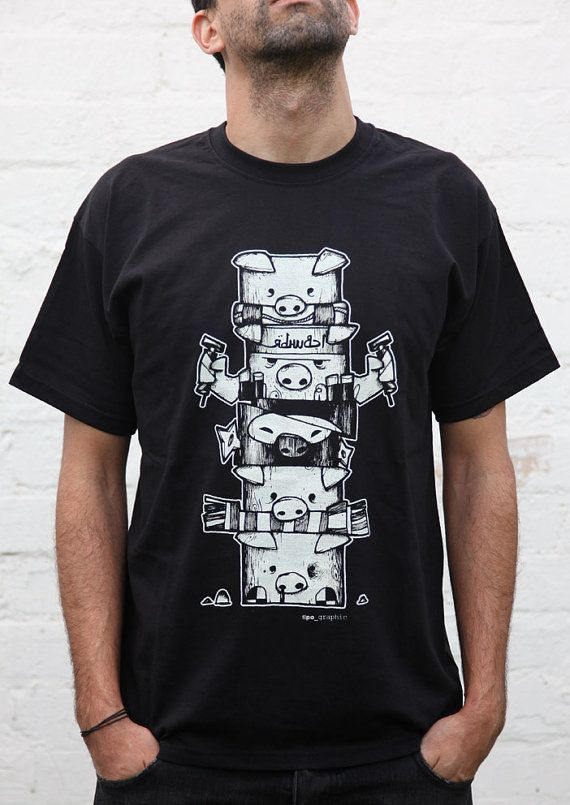 pig character totem black man white tshirt man by tipagraphic