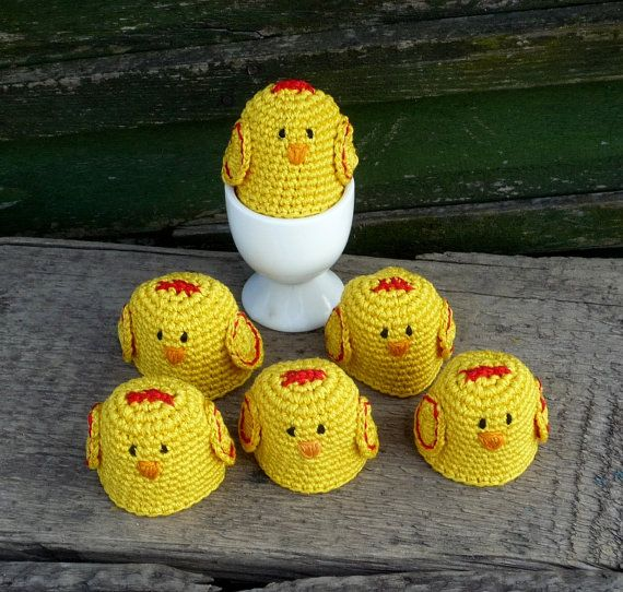 Crochet Chick Egg Cozy  set of 6 Mother's Day by MonikaDesign