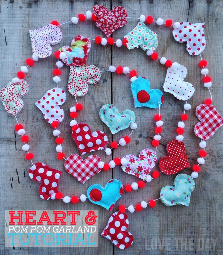 Heart and Pom Pom Garland Tutorial by Love The Day