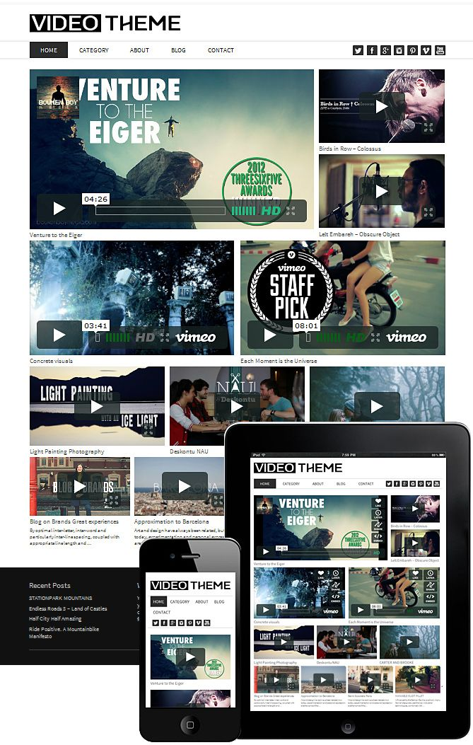 Theme video Wordpress responsive