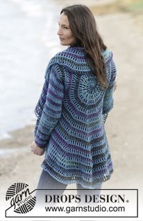 """Crochet DROPS jacket worked in a circle in """"Big Delight"""" and """"Karisma"""". Size: S - XXXL. ~ DROPS Design"""