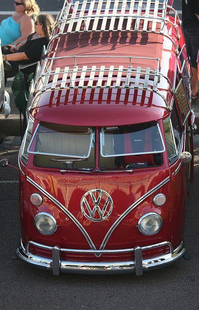 VW Volkswagen van - I like the racks & the flip windows