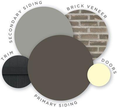 Mastic color palette, high voltage, quest vinyl siding, board and batten shutters, brick veneer, coordinating colors